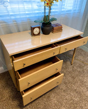 Load image into Gallery viewer, (SOLD) Simply BEAUTIFUL Blonde Mid Century Modern Desk in Excellent Condition!  Perfect MCM Desk! Solid Wood!! 48X30X20