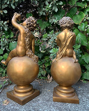 Load image into Gallery viewer, (SOLD) GORGEOUS Vintage Set of Large Sculpture Cherub on a Ball in Great Condition. Perfect Decorative Vintage BEAUTIES indeed!!
