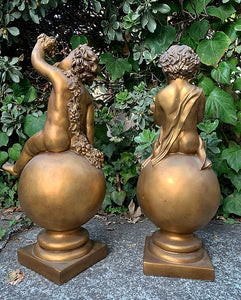 (SOLD) GORGEOUS Vintage Set of Large Sculpture Cherub on a Ball in Great Condition. Perfect Decorative Vintage BEAUTIES indeed!!