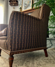 Load image into Gallery viewer, (SOLD) GORGEOUS Vintage French-Victorian Custom Made Wingback Accent Arm Chair with Beautiful Sculpted Legs in Like NEW Condition!!