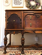 Load image into Gallery viewer, (SOLD) STUNNING 1940s Jacobean Buffet/Entryway/Dresser/Media with Gorgeous Hardware and Details!! Perfect BEAUTY!! 60X38X22