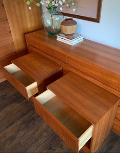 (SOLD) Simply Beautiful 4PC Danish-Scandanavian Teak Mid Century Modern Dresser, Chest and 2 Nightstands in Superb Condition. Perfect Clean Line Imported Danish MCM for Minimalist and Wood Lover!!