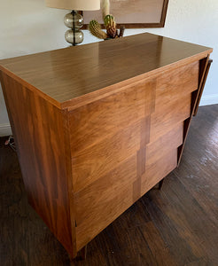 (SOLD) Stunning High-End Ward Danish Mid Century Modern Bedroom Set Dresser, Chest, 2 Nightstands, Mirror and Queen Headboard in NEW Like Condition. Perfect Danish MCM Beauties!!