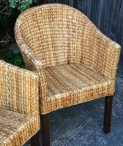 (SOLD) Gorgeous Set of 2 Versatile Heavy Duty Rattan Accent Chairs with Armrest. These Wicker chairs are perfect Organic/Country pieces!!