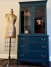 Load image into Gallery viewer, (SOLD) Gorgeous and Newly ReDesigned High-End Vintage American of Martinsville French-Victorian Display Cabinet with Beautiful Design and Original Hardware!!!