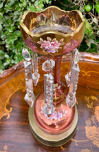 Load image into Gallery viewer, (SOLD) ELEGANT Set of Vintage Victorian Table Lamps with Gorgeous Crystals and Handpainted Floral Design. They are RARE BEAUTIES