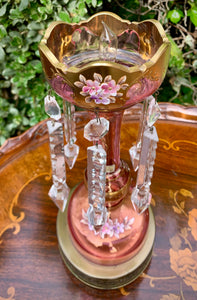 (SOLD) ELEGANT Set of Vintage Victorian Table Lamps with Gorgeous Crystals and Handpainted Floral Design. They are RARE BEAUTIES