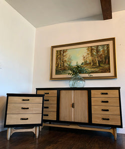 (SOLD) Gorgeous High-End Lexington 2PC Danish Mid Century Modern Blonde Dresser and Nightstand with Beautiful Design and Original Gold-Black Hardware. Perfect Verstile ReDesigned BEAUTIES!!