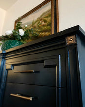 Load image into Gallery viewer, (SOLD) Gorgeous Restoration Hardware inspired Modern French Regency Dresser-Media-Entryway-Buffet in BLACK!! Perfect Newly ReDesigned High-End BEAUTY made by Thomasville!!!