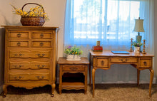 Load image into Gallery viewer, (SOLD) Gorgeous Vintage 3PC Drexel French Country Bedroom Set with Beautiful Design and All Original Hardware!! Solid Wood to Last!!