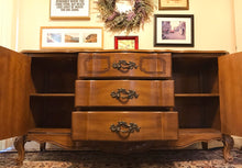 Load image into Gallery viewer, (SOLD) Gorgeous 1950s French Country Buffet/Media/Entryway/Dresser/Console with Beautiful Details and Hardware. This is a Perfect French Country BEAUTY!!!