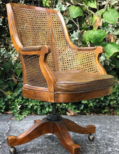 Load image into Gallery viewer, (SOLD) Gorgeous Vintage Leather Cane Executive Chair in Excellent Condition. Perfect Solid and Comfortable Vintage Chair!!!