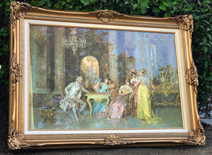 "(SOLD) GORGEOUS Vintage French-Rococco ""The Chess Game by Francesco Beda"" in a Beautiful Formal French Carved Frame originated from France!! 45X33"