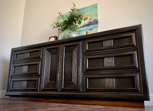 (SOLD) SIMPLY BEAUTIFUL Restoration Hardware inspired MID CENTURY 9Drawer Dresser in Excellent Solid Condition! BLACK Beauty!!