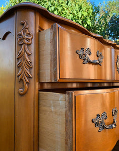 (SOLD) Stunning Vintage Serpentine French Country Chest of Drawers with Beautiful Details and Original Hardware!!