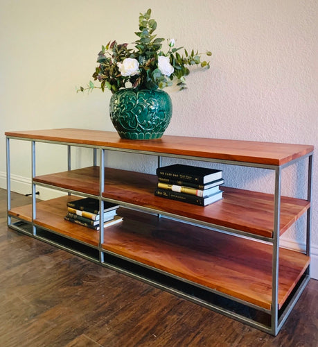 (SOLD) Simply Beautiful High-End Crate and Barrel CONTEMPORARY RUSTIC Wood and Metal Base MEDIA-CONSOLE or can be used as COFFEE-BOOK TABLE as well!!