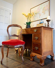 Load image into Gallery viewer, (SOLD GORGEOUS 2PC Vintage Desk/Vanity Table and French-Rococco Red Chair in Superb Condition!! Perfect Pieces for Vintage and Wood Lover!!