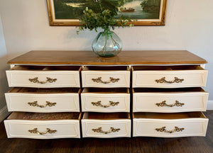 (SOLD) STUNNER and Newly ReDesigned High-End French Country Modern Dresser/Media/Entryway/Buffet/Credenza with Gorgeous Hardware and Design