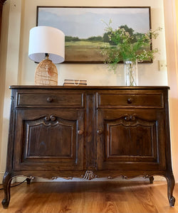 (SOLD) Restoration Hardware inspired Simply Beautiful Newly Restained Vintage FRENCH COUNTRY Entryway-Buffet-Console-Server-Coffee/Snack Table in Superb Condition. Perfect Vintage Piece for French Country and Wood Lover!!