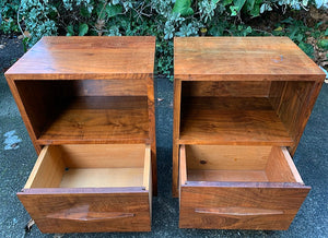 (SOLD) Gorgeous Mid-Century Modern Set of Nighstands/Side/End Tables with Beautiful Wood Grain. Versatile Clean Line BEAUTIES!!