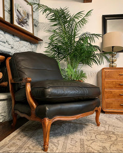 (SOLD) Gorgeous Modern French Country Black Leather Accent Chair in Like New Condition. This Piece should fit any decor and will surely add BEAUTY and CLASS!!!