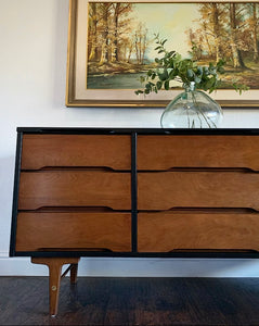 (SOLD) Gorgeous High-End Stanley Black Mid Century Modern 9Drawer Dresser/Credenza/Media/Entryway/Console/Sofa Table/Buffet in Great Condition. Perfect BARGAIN MCM for Minimalist!!