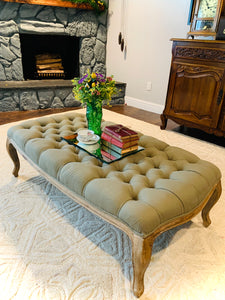 (SOLD) Gorgeous High-End French Modern Tufted Coffee Table/Ottoman by Ballard Designs in Sage Green!! Perfect Bargain Add-On Beauty any room in your Neat. Solid, Comfy, Sturdy and Beautiful!