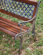 Load image into Gallery viewer, (SOLD) Gorgeous Vintage Rustic inspired Outdoor Heavy Duty Wrought Iron Bench witth Beautiful Details. Perfect Statement Decorative Outdoor Bench!!!