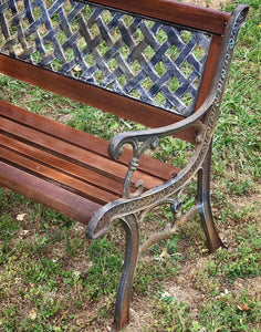 (SOLD) Gorgeous Vintage Rustic inspired Outdoor Heavy Duty Wrought Iron Bench witth Beautiful Details. Perfect Statement Decorative Outdoor Bench!!!