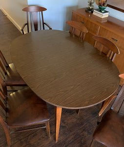 (SOLD) Simply Beautiful Danish Mid Century Modern Dining Table and 10 Chairs with 3 Leaves in Great Condition. Perfect Dining Set for Vintage MCM and Wood Lover!!