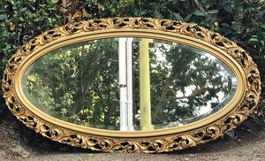 (SOLD) Gorgeous Large Vintage French-Syroco Decorative Mirror with Beautiful Design and Bevelled Glass!! Perfect Vintage Timeless BEAUTY!!