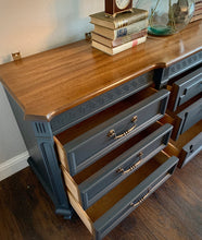 Load image into Gallery viewer, (SOLD) Gorgeous Restoration Hardware inspired 2PC Mid Century Modern Bedroom Dresser and Nightstand in Excellent Condition. Perfect MCM Pieces for Modern and Wood Lover!!