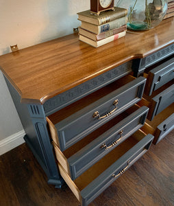 (SOLD) Gorgeous Restoration Hardware inspired 2PC Mid Century Modern Bedroom Dresser and Nightstand in Excellent Condition. Perfect MCM Pieces for Modern and Wood Lover!!