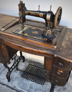 (SOLD) STUNNING Antique White Sewing Machine. Perfect Decorative Piece for you Nest!! This is a Total BEAUTY perfect for Antique Lover!!
