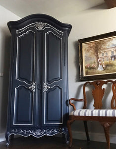 (SOLD) Gorgeous Vintage Modernized French Country Armoire with Beautiful Details!!! 80X45X18