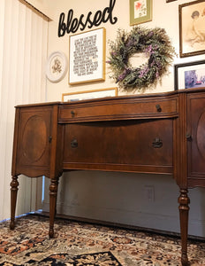(SOLD) Gorgeous 1940s Victorian Buffet/Entryway/Console/Media with Beautiful Details and Hardware!!