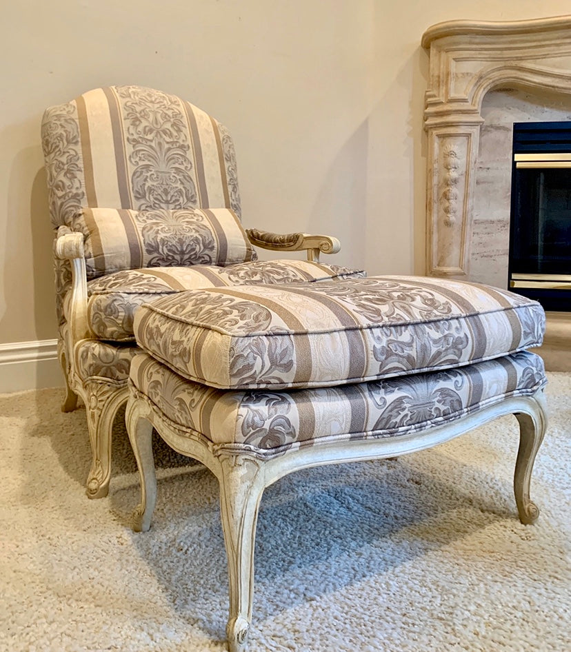 (SOLD) Gorgeous High-End Century Large French Country Grand Bergere Chair with matching Ottoman in Excellent Condition!!