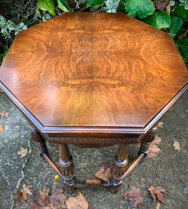 (SOLD) Gorgeous 1940s Marsman Burl Wood Top Jacobean Accent Table with Beautiful Details and Solid!! Perfect Piece for Vintage and Wood Lover!!