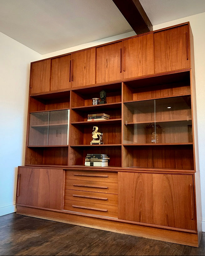 (SOLD) Simply Beautiful 3PC XL Danish Mid Century Modern Teak Credenza Wall Unit in Superb Condition!! Perfect Statement BEAUTY indeed!!