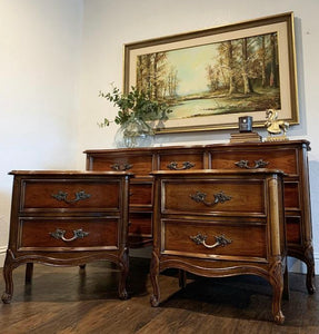 (SOLD) Gorgeous 3PC High-End Dixie French Country Modern Queen Anne Style Dresser and 2 Nightstands. They are Perfect Must Have Versatile French Modern Bargain BEAUTIES indeed!!