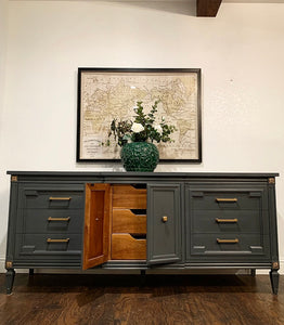 (SOLD) Gorgeous 2PC Modern French Regency Dresser/Media/Buffet/Entryway with matching Tremeau Decorative Mirror with Beautiful Design!!