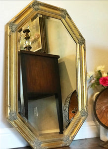 (SOLD) Gorgeous 1930s French-Victorian Octagon Decorative Mirror with Beautiful Details and Bevelled Glass!! 42X22