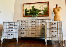 Load image into Gallery viewer, (SOLD) Gorgeous and Newly ReDesigned MODERN FRENCH COMMODES Dresser and 2 Nightstands. Perfect Pieces for Modern French Country Lover!!