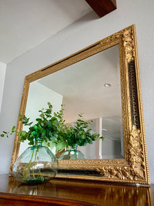(SOLD) STUNNING Vintage Large Black and Gold French-Victorian Bevelled Decorative Mirror in Excellent Condition!!
