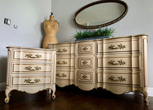 Load image into Gallery viewer, (SOLD) Beautiful and Well Kept 3PC Vintage Cream-Beige French Provincial Dresser, Mirror and Nightstand! Extremely Heavy Duty Solid Beauties!!