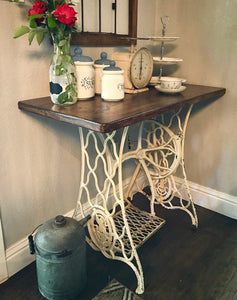 (SOLD) Gorgeous Antique 1930s Sewing Machine Table ReDesigned for Multi-Purpose use, it can now served as a Coffee/Snack Decorative Table/Desk/Entryway/Console Piece!! 37W 30H 20D