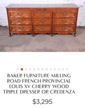 Load image into Gallery viewer, (SOLD) Gorgeous Vintage High-End French Baker Milling Road Louis XV Credenza/Buffet/Media/Entryway/Dresser/Console in Excellent Condition!!