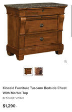 Load image into Gallery viewer, (SOLD) GORGEOUS High-End XL Kincaid Bedside Chest/Nightstands with Marble Top Like and Original Hardware. They are Perfect High-End BEAUTIES indeed!!
