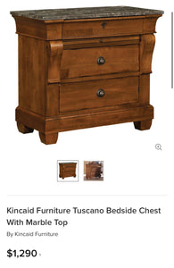(SOLD) GORGEOUS High-End XL Kincaid Bedside Chest/Nightstands with Marble Top Like and Original Hardware. They are Perfect High-End BEAUTIES indeed!!