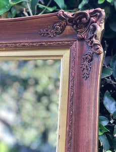 (SOLD) Gorgeous Vintage French Country Decorative Mirror with Beautiful Handcarved Rose Details and Bevelled Glass!! 59X35